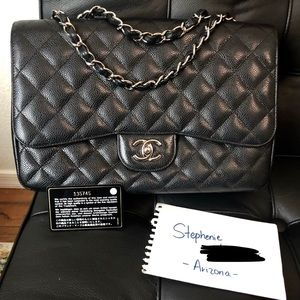 ❌SOLD❌Authentic CHANEL Single Flap Jumbo SHW